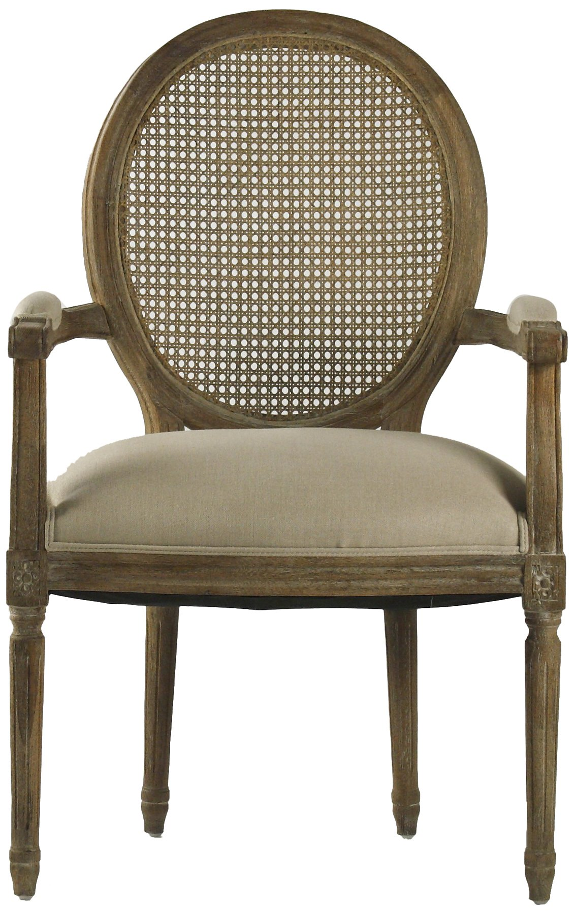 zentique medallion arm chair with cane back  limed grey  oak  natural linen