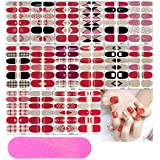 16 Sheets Full Wraps Nail Polish Stickers,Self-Adhesive Nail Art Decals Strips Manicure Kits Nail Art Designs for Women Girls(Red And Rose Gold Theme Colors) With 5 Pcs Nail Buffers Files (Color: 2)