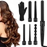 Luxspire 6 in 1 Hair Curling Wand, Professional Hair Curler with 0.35 to 1.25 Inch Interchangeable Ceramic Barrel Curling Iron Curling Rods Roller Set with Heat-Resistant Glove for All Hair Types (Color: Black)