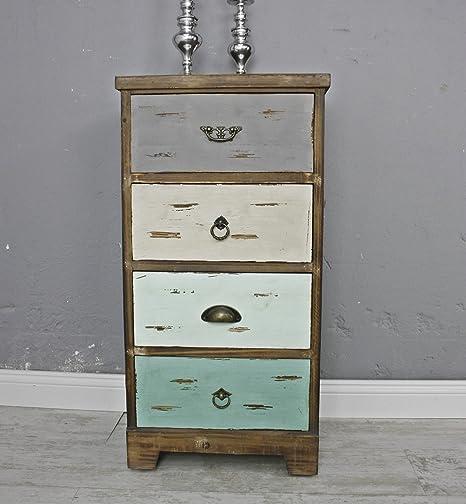 elbmöbel Kommode Vintage aus Holz in braun und bunt antik Landhaus Shabby-Chic Schubladen massiv