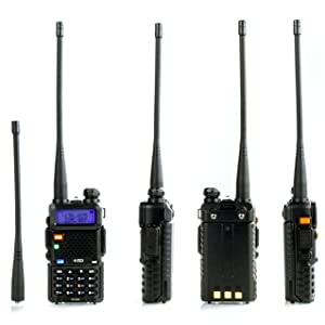 BTECH UV-5X3 5 Watt Tri-Band Radio VHF, 1.25M, UHF, Amateur (Ham), Includes Dual Band Antenna, 220 Antenna, Earpiece, Charger, and More (Color: Black)