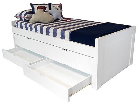 Sueñomueble - Cama infantil, juvenil blanco lacado 2 camas y cajones dm 4 cms, no melamina. lacada en blanco.2 camas + 2 cajones.mod.natalia