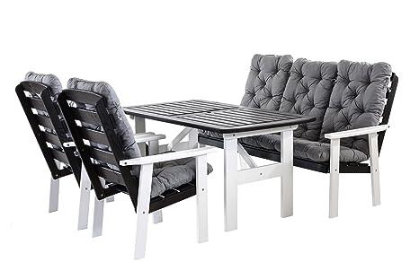 Ambientehome 90399 9 teilig Garten Sitzgruppe Essgruppe Loungegruppe Gartenmöbel Essgarnitur Hanko Maxi mit Kissen, weiß / grau