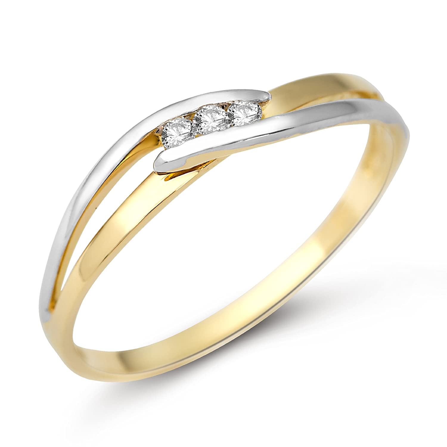 Miore Damen Ring 9 Karat (375) Bicolor Brillanten