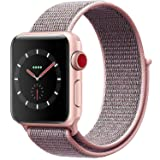 VATI Replacement Band Compatible for Apple Watch Band 38mm 42mm Soft Breathable Nylon Sport Loop Band Adjustable Wrist Strap Replacement Band Compatible for iWatch Series 3/2/1,Sport,Nike+,Edition (Color: Pale Pink & Pink Sand, Tamaño: Watch 38MM)