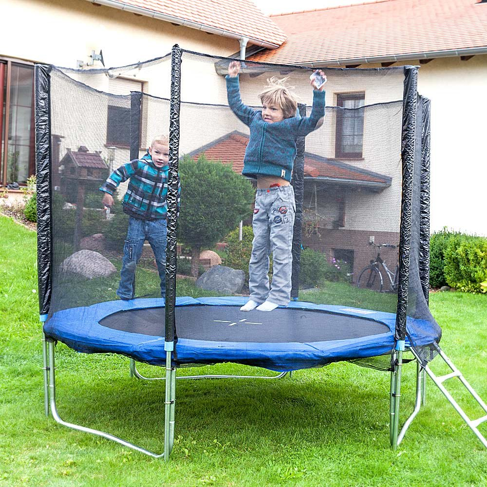 Gartentrampolin Trampolin 250 cm , inkl. Sicherheitsnetz, Leiter und Abdeckplane günstig online kaufen