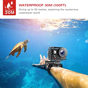 Campark X25 Native 4K Action Camera Ultra HD WiFi Underwater Waterproof Camera 170° Wide Angle with 2 Rechargeable Batteries and Mounting Accessories Kit Compatible with go pro