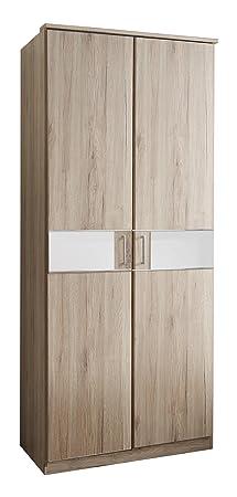 Wimex T05179 2 turiger Kleiderschrank, Holz, san remo eiche nachbildung / absetzungen glas weiß, 90 x 58 x 197 cm
