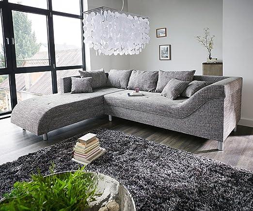 Couch Cadiz Grau 261x204 cm mit Keder Ottomane Links Ecksofa