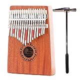 GECKO Kalimba 17 Key with Mahogany,Portable Thumb Piano Mbira/Marimba Sanza of Wooden Attached Ore Metal Tines