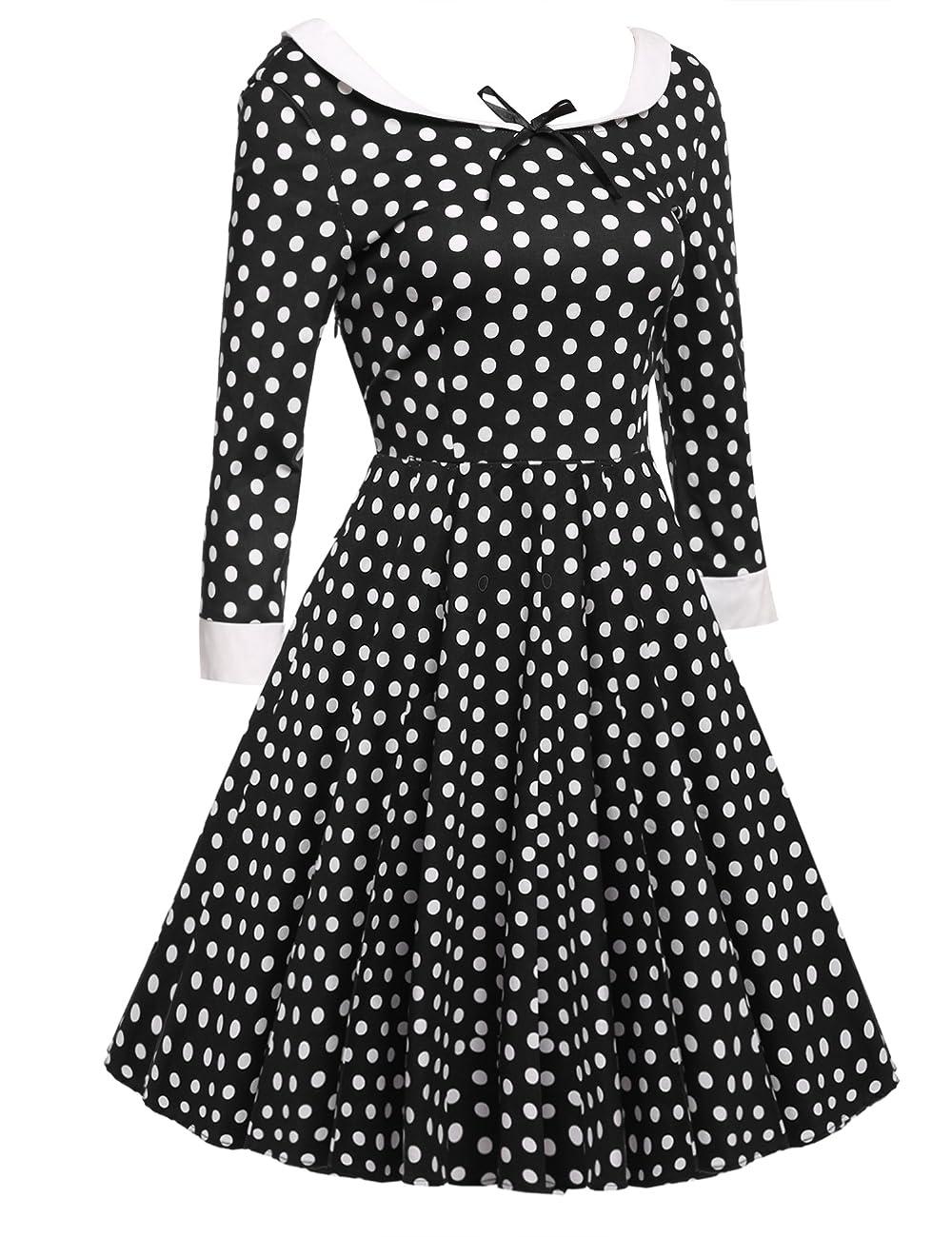 ACEVOG Women's Vintage 50s Elegant Polka Dot Formal Casual Party Dress 1