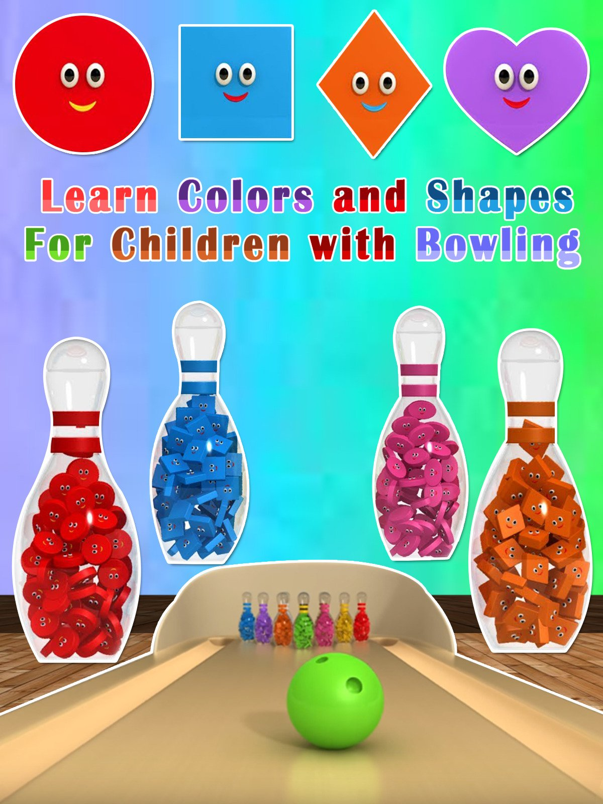 Learn Colors and Shapes For Children with Bowling