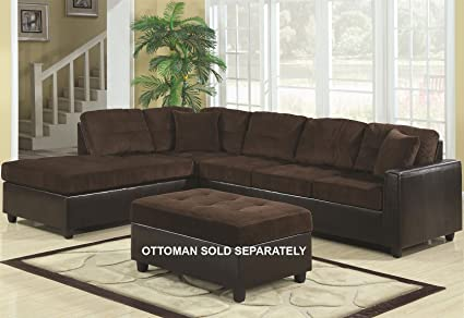 Coaster Reversible Chocolate Soft Corduroy Two-Tone Sectional