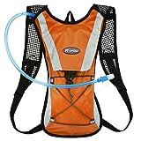 KUYOU Hydration Pack Water Rucksack Backpack Bladder Bag Cycling Bicycle Bike/Hiking Climbing Pouch + 2L Hydration Bladder,(Orange+Water Pouch)