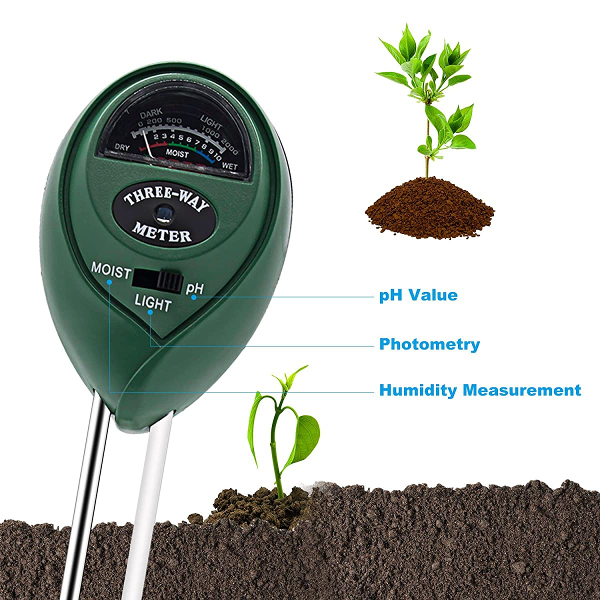 Soil Tester, Deepow 3-in-1 Soil Moisture Meter, Soil Ph Meter Kit for Moisture, Light & pH - Helpful for Garden, Lawn, Indoor & Outdoor, High Accurate & Easy Read Indicator (No Battery needed)