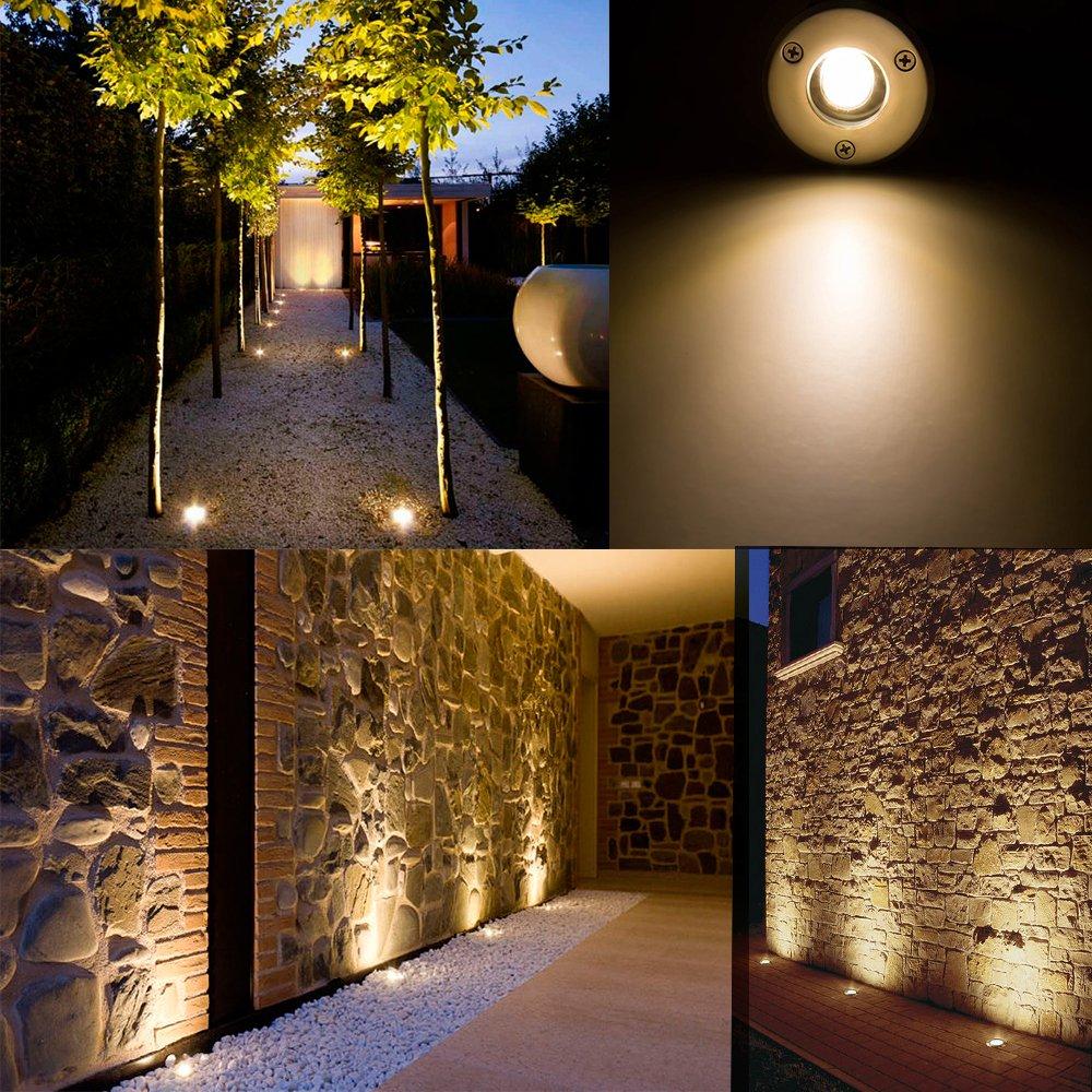 Landscape Lights Sunriver Pathway Lights 1W 12V-24V In Ground Well Lights LED Landscape Lighting Low voltage Lights for Driveway, Deck, Garden, Outdoor Lighting (6 Pack, Warm White)