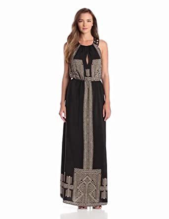 Twelfth Street by Cynthia Vincent Women's Leather Racer Back Maxi Dress, Egyptian Scarf, Medium