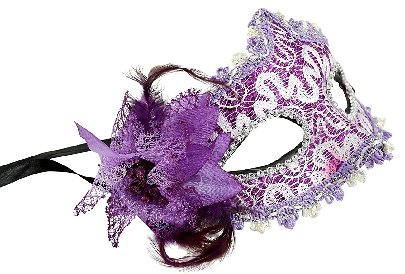 LRKC Classy Vintage Lace Floral Halloween Party Masquerade Eye Mask 1