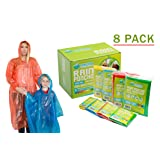 Rain Poncho: Disposable Emergency Rain Ponchos for Men , Women and Teens, Children (8pack)