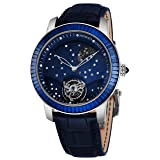 Graham The Moon Mens Flying-Tourbillon Moon-Retrograde Unique Piece Limited Edition Watch - 46mm 18K White Gold Watch with Blue Face 48 Diamond Constellation - Blue Baguette Diamond Bezel Luxury Watch (Color: blue)