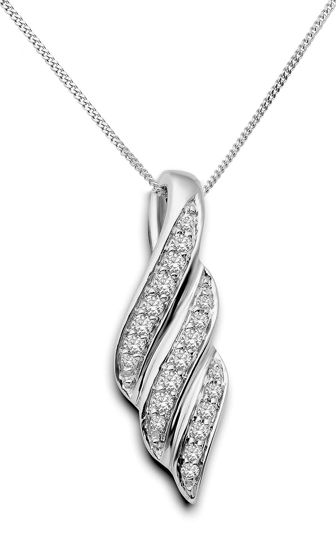 Miore Damen-Halskette mit Anhänger ca. 0.25ct Brillanten 9 Karat 375 Weißgold SA942N günstig kaufen