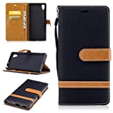 For Sony Xperia XA1/Z6 Case [with Free Screen Protector], Metatze Premium Soft PU Leather Cowboy Cloth Wallet Cover Case For Sony Xperia XA1/Z6(Black)