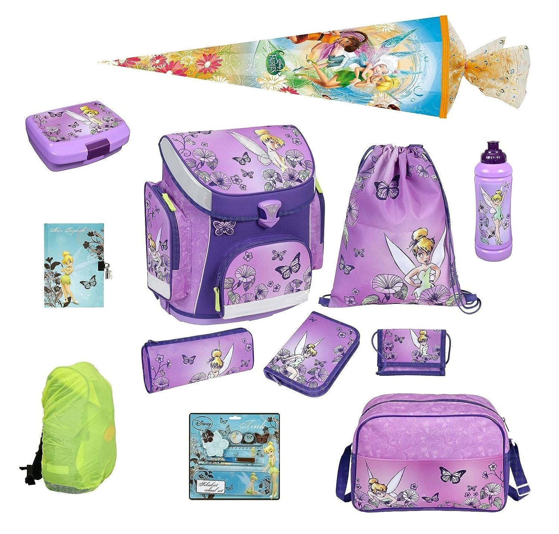 Schulranzen Set Disney Fairies 16tlg. Sporttasche + Federmappe, Regen-/Sicherheitshülle Tinkerbell Scooli TKZD8251 als Geschenk