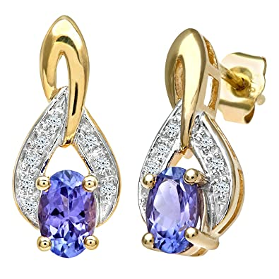 Naava 9 ct Yellow Gold Tanzanite and Diamond Drop Earrings