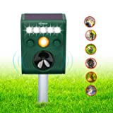ZOVENCHI Ultrasonic Animal Pest Repellent, Outdoor Solar Animal Repeller with LED Flashing Light, Waterproof Pest Repeller with Motion Sensor, Repel Dogs, Cats, Squirrels, Rabbits and more (Color: H-001)