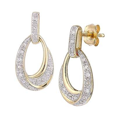 Naava 9ct Gold Diamond Teardrop Design Earrings