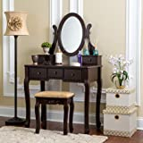 Fineboard Single Mirror Dressing Table Set 5 Organization Drawers Vanity Table with Wooden Stool, Brown