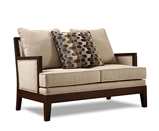 Homelegance 9918FA-2 Dalton Collection Love Seat, Beige Chenille-like Corded Microfiber with Show-wood Frame