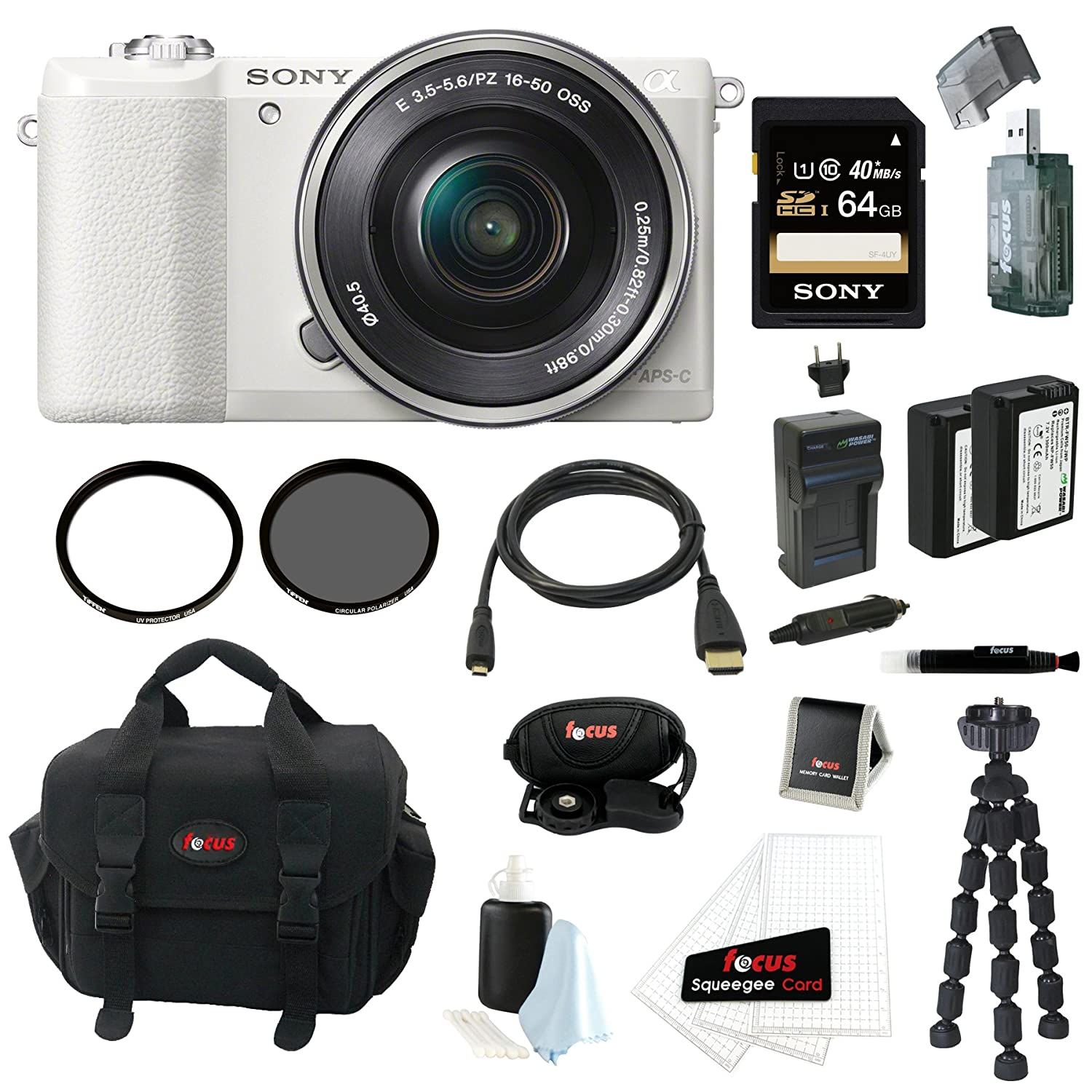 Sony Alpha a5100 ILCE5100 ILCE5100L/W with 16-50mm Lens 24MP Mirrorless Interchangeable Lens Digital Camera (White) + Sony 64GB Class 10 Memory Card  ..