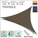 SUNNY GUARD 12' x 12' x 12' Brown Triangle Sun Shade Sail UV Block for Outdoor Patio Garden