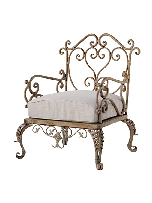 A&B Home Metal Victorian Garden Armchair with Cushion