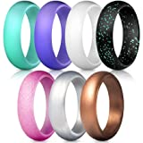 ThunderFit Silicone Rings, 7 Pack Wedding Bands for Women - 5.5 mm Wide (Teal Purple White Silver Bronze Black Pink Glitter, 6.5-7 (17.3mm)) (Color: Teal Purple White Silver Bronze Black Pink Glitter, Tamaño: 6.5 - 7 (17.3mm))