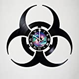 Resident Evil - Zombie Design - vinyl wall clock - handmade artwork home bedroom living kids room nursery wall decor great gifts idea for birthday, wedding, anniversary (Color: Black, Tamaño: 12 inches)