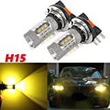 2x Gold Yellow 3500K 80W H15 CREE LED Bulbs for VW Audi Driving Daytime Running Lights