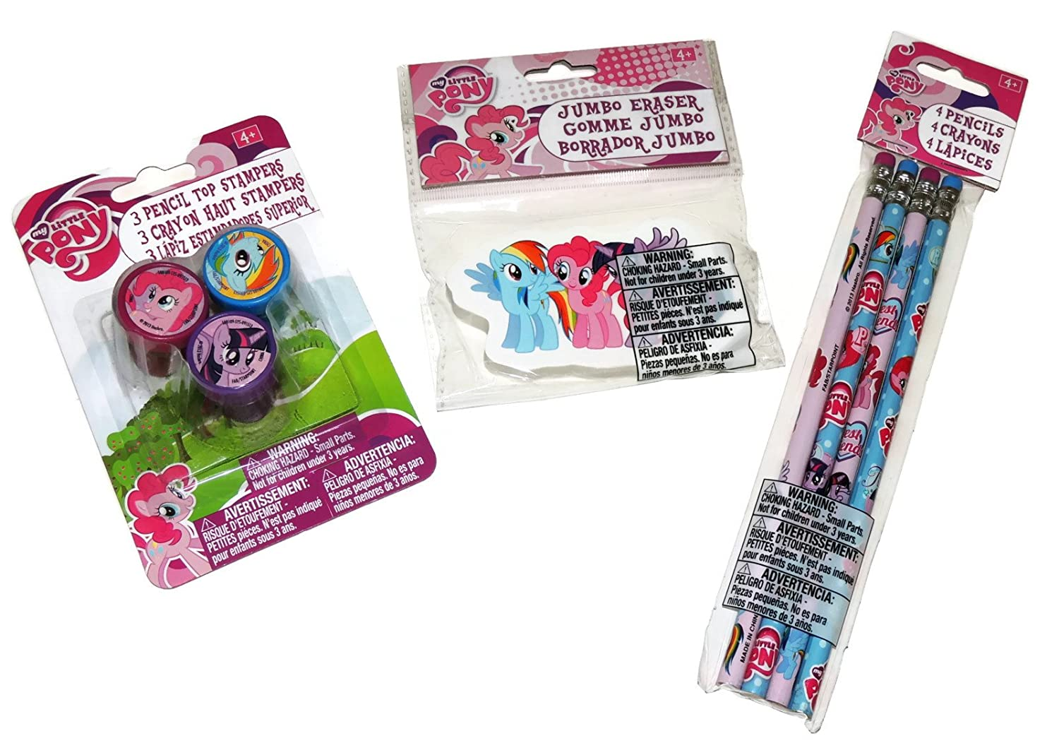 My Little Pony 8 Piece Set Assorted Pencils, Jumbo Eraser, and Assorted Pencil Topper Stampers