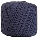 Threadart 100% Pure Cotton Crochet Thread - SIZE 3 - Color 38 - NAVY -2 sizes 27 colors available (Color: NAVY, Tamaño: SIZE 3 SINGLE)
