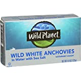 Wild Planet Wild Anchovies in Water with Sea Salt,  4.4 Ounce (Pack of 12) (Tamaño: 4.4-Ounce)