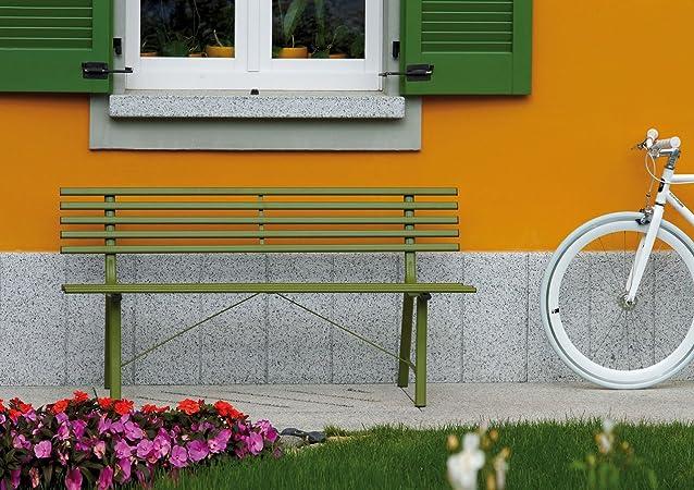 Panca da giardino in ferro colorato Gallipoli Moia a 3 posti Colore Verde oliva, Disponibile anche in grigio antracite superficie antigraffio e resistente agli agenti atmosferici Misure L 150 cm - A 76 cm - P 56 cm