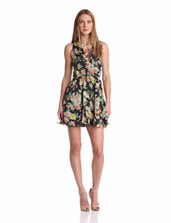 DV by Dolce Vita Women's Delyth Dress, Black Floral, Medium