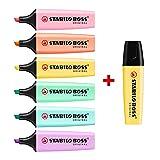 STABILO BOSS Original Pastel Highlighter Pens Highlighter Markers - Bumper Pack of 7