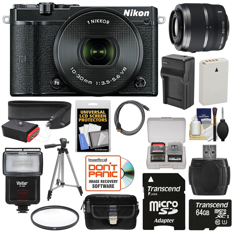 Nikon 1 J5 Wi-Fi Digital Camera & 10-30mm Lens (Black) with 30-110mm VR Zoom Lens + 64GB Card + Battery + Charger + Strap + Case + Tripod + Flash + Filter Kit