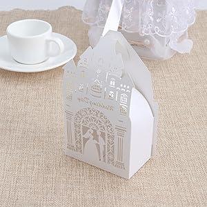 BESTOYARD 50PCS Hollow Die-Cut Castle Favor Boxes Wedding Candy Boxes Wedding Gift Boxes - White (Color: White)