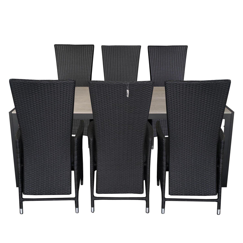 7tlg. Gartengarnitur Gartentisch 205x90cm Polywood Tischplatte Aluminium Poly Rattansessel Rückenlehne verstellbar inklusive Sitzpolster Sitzgruppe Terrassenmöbel Sitzgarnitur