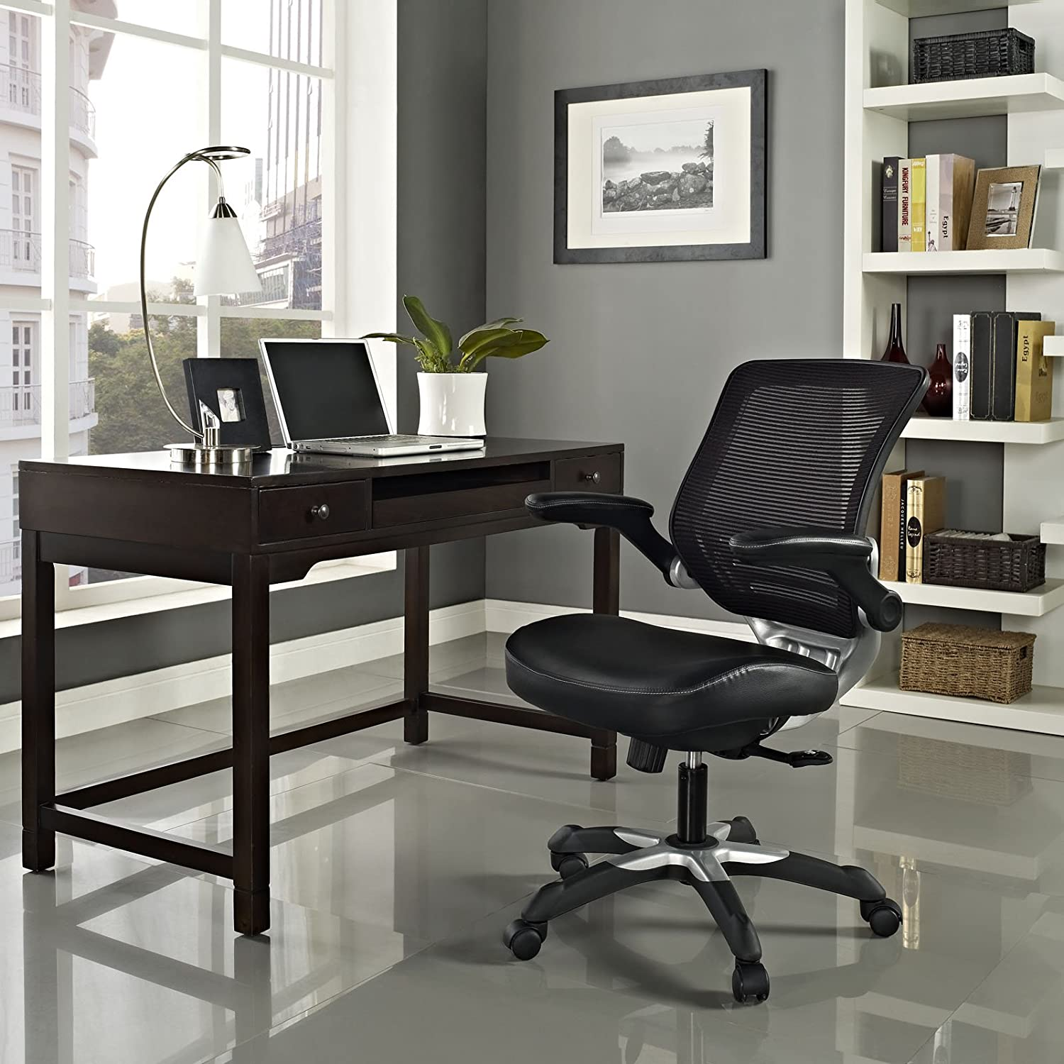 Most comfortable computer chair - Lexmod Edge Office Chair With Mesh Back And Black Leatherette Seat Most Comfortable Office Chair