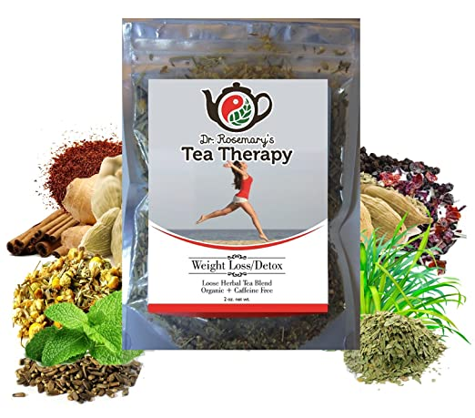 Weight Loss Detox Tea ✜ Boost Your Metabolism & Curb Your Appetite ✜ Cleanse & Reboot Your Energy Fast with Organic Caffeine Free Loose Herbal Tea Blend ✜ Naturally Gluten Free for your Detoxing ✜by Dr. Rosemary's Tea Therapy