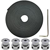 DerBlue 5 Meters GT2 2mm pitch 6mm wide Rubber Timing Belt+ 5 Pcs 20 Teeth Aluminum Timing Pulley Wheel for 3D printer CNC(Prusa i3, Kossel, Rostock, TAZ etc)